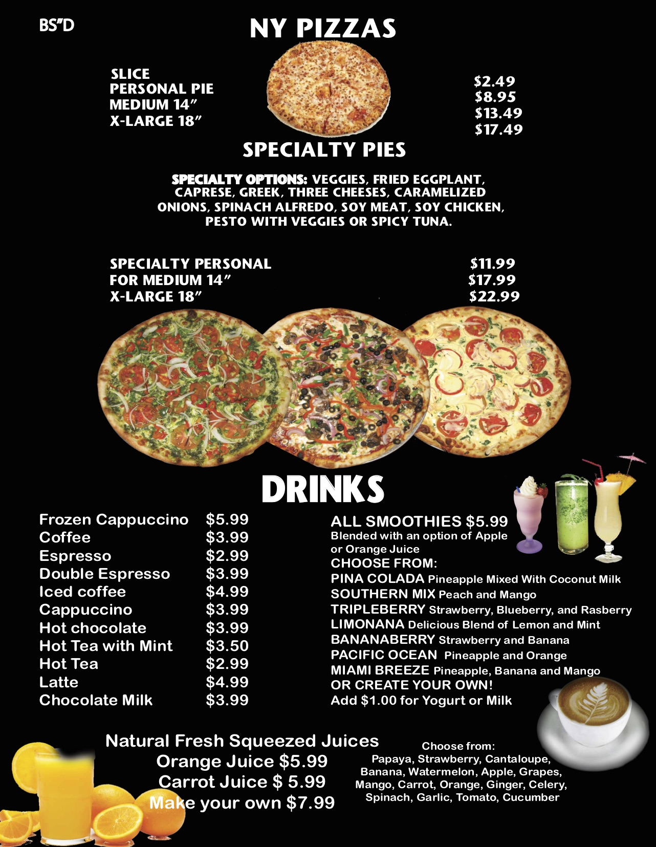 Dine in menu #14 Pizza and Drinks BLACK WEB